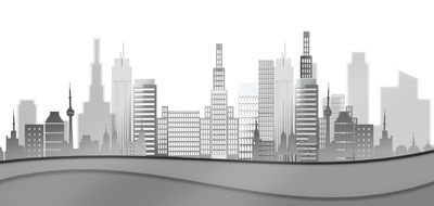 abstract cityscape with skyscrapers, black and white illustration