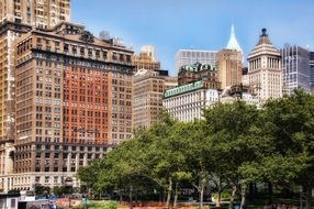 Contrasting building facades in Battery Park, Manhattan, New York (The big apple)