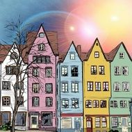 sun flare above colorful houses, illustration