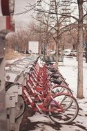 bicycles in row on parking at winter, usa, Colorado, denver