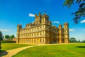 sun day view highclere castle building