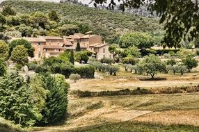 village and garden on hill side, france, provence
