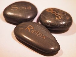pebbles with inscriptions, relaxation