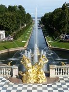 golden Samson Fountain and Sea Channel, russia, peterhof