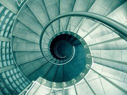 modern spiral staircase, top view