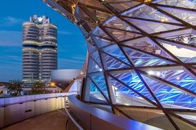 picture of munich bmw welt building at night