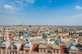 city roof view at sunny day, austria, vienna