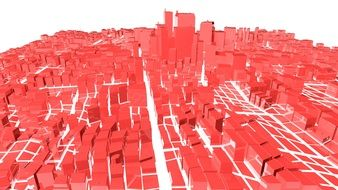 abstract red buildings of big city