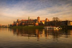 museum building of Wawel Castle at wisla river, poland, kraków