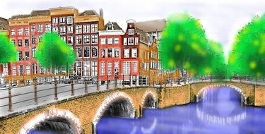 colorful cityscape with river, bridge and buildings, painting