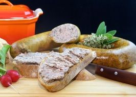 homemade liver sausage and bread, still life