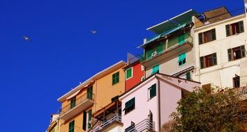colorful facades of old houses at blue sky, italy, cinque terre, manarola