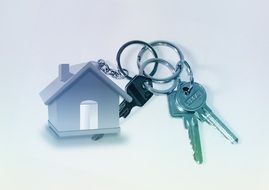 keys on keychain with toy house