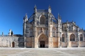 Batalha Monastery, Gothic building at sky, portugal