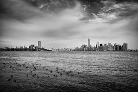 black white new york ny usa water river sea terrific mood