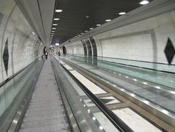 tunnel with rails in the subway