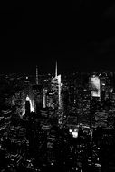 black white photo panorama night city