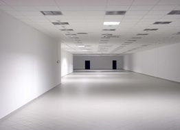 empty white hall, perspective