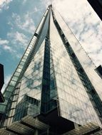 the shard, low angle view of London Bridge Tower, supertall skyscraper, uk, england