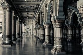 historic interior with beautiful columns, perspective