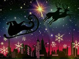santa claus and deer fly in sky above city, christmas illustration