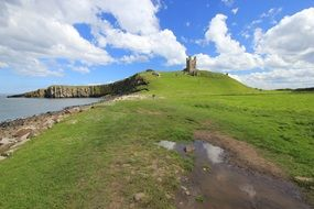 day view dunstanburgh castle northumberland england