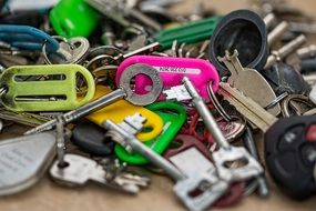 heaps of keys with keyring