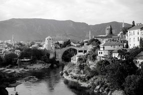 black and white panorama of mostar