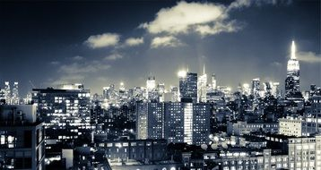 new york skyline night city