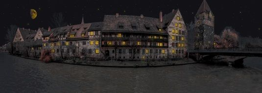 old town and bridge night dark panorama nuremberg