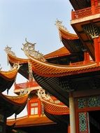 fragment of buddhist temple red roof at sky, china, fuzhou