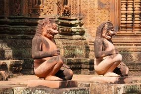 ancient sculptures in the temple complex in Angkor Wat Cambodia