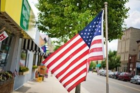 american flag on the street