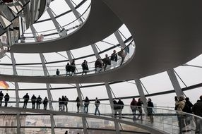 people under dome of reichstag, germany, berlin