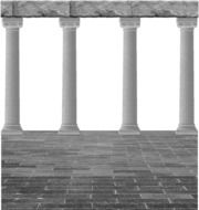 classical columns at pavement, cutout