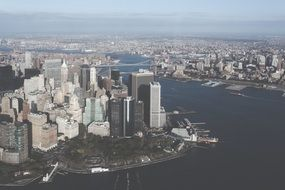 aerial view of new york city and bay, usa, manhattan