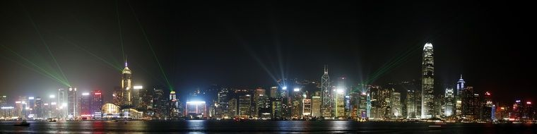 night panoramic view of illuminated city, china, hong kong