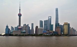 shanghai skyline at cloudy day, china