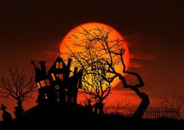 full moon at red sky above cemetery, illustration