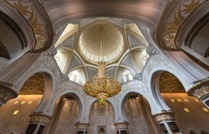 interior of ceiling in Sheikh Zayed Grand Mosque, Abu Dhabi, United Arab Emirates