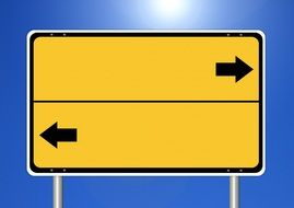 yellow road billboard with black arrows