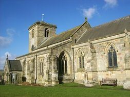 medieval building of all saints church, uk, rudston