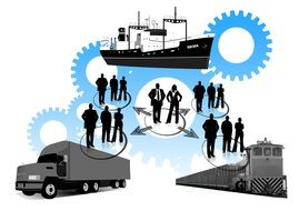 logistics, illustration with transport, people and gears