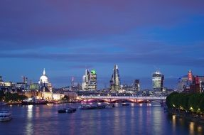 night view of waterloo bridge at city, uk, england, london