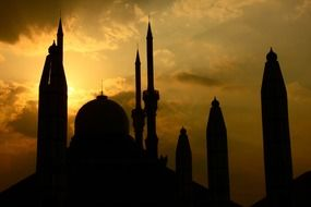 indonesia semarang mosque building sunset silhouette