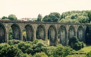 old railway bridge at summer countryside, uk, wales