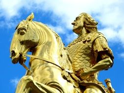 golden rider, part of gilded equestrian statue of Augustus the Strong, germany, dresden
