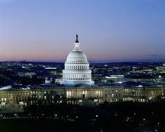 illuminated capitol building at dusk, cityscape, usa, washington dc