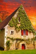 rural house red sky background