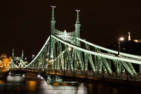illuminated liberty bridge at night, hungary, budapest